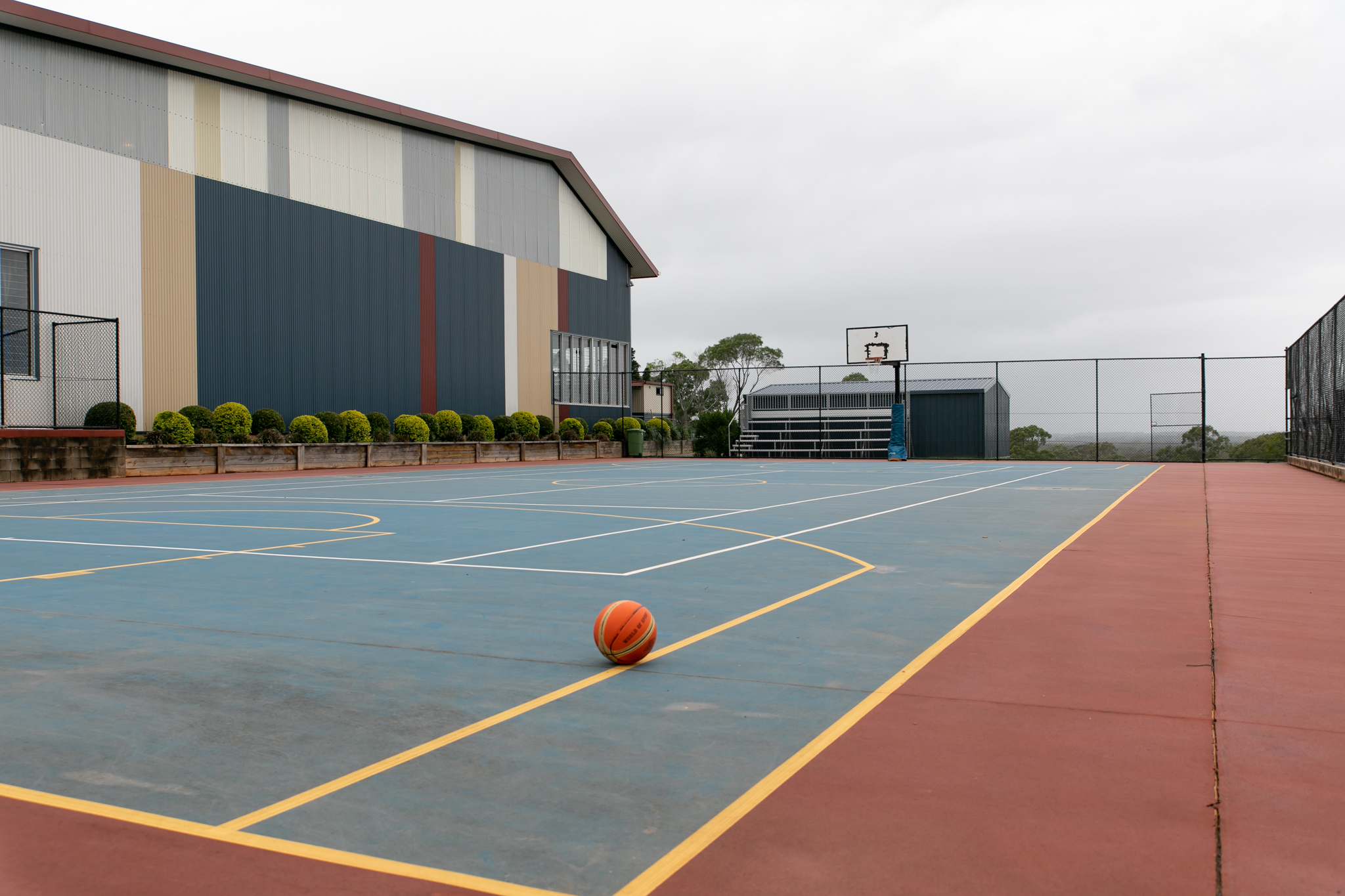 Outdoor basketball and tennis courts