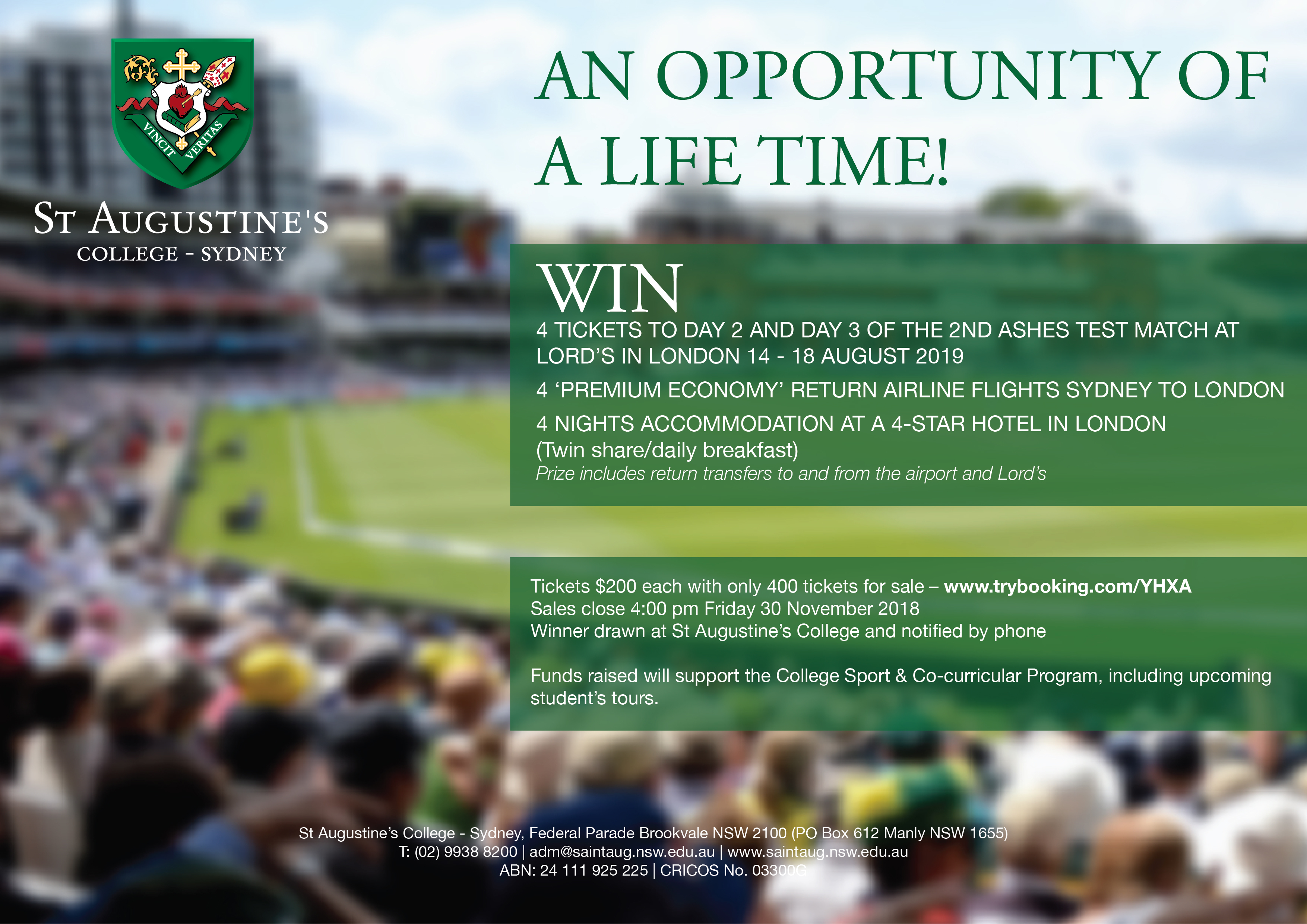 Win four seats to Days 2 & 3 of the Ashes… | St Augustine's